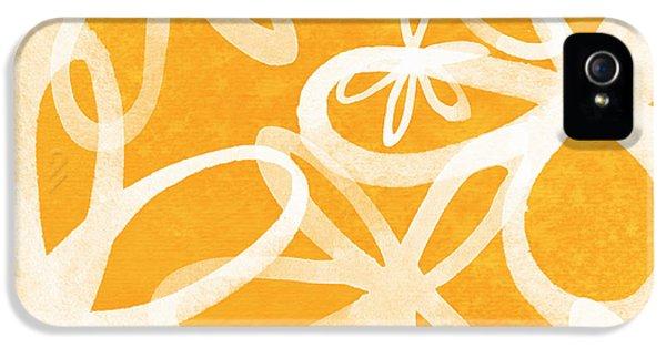 Waterflowers- Orange And White IPhone 5 Case by Linda Woods
