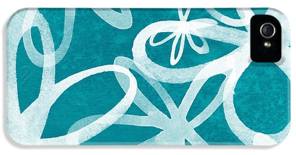 Waterflowers- Teal And White IPhone 5 Case