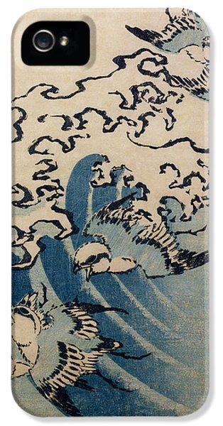 Waves And Birds IPhone 5 Case by Katsushika Hokusai
