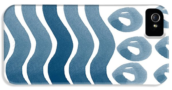 Waves And Pebbles- Abstract Watercolor In Indigo And White IPhone 5 Case by Linda Woods