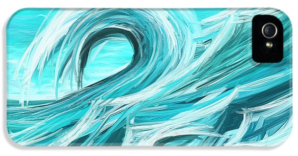 Waves Collision - Abstract Wave Paintings IPhone 5 Case by Lourry Legarde