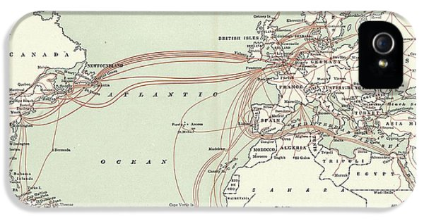 Western Union Transatlantic Cables IPhone 5 Case by Library Of Congress, Geography And Map Division