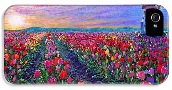 Impressionism iPhone 5 Case -  Tulip Fields, What Dreams May Come by Jane Small