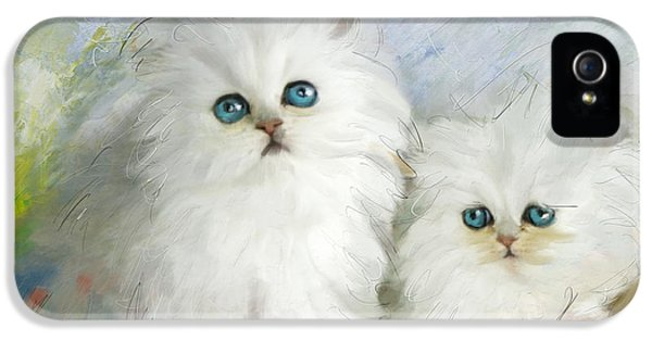 White Persian Kittens  IPhone 5 Case by Catf