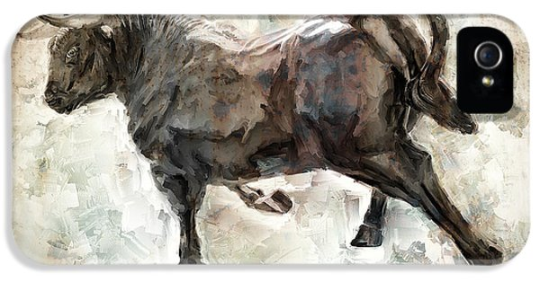 Wild Raging Bull IPhone 5 Case by Daniel Hagerman