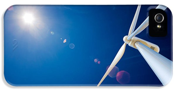Wind Turbine And Sun  IPhone 5 Case by Johan Swanepoel
