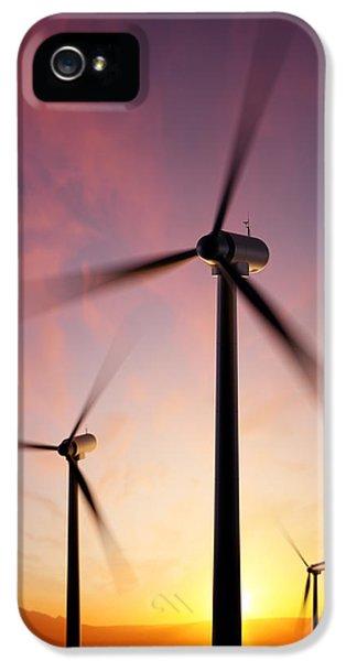 Wind Turbine Blades Spinning At Sunset IPhone 5 Case