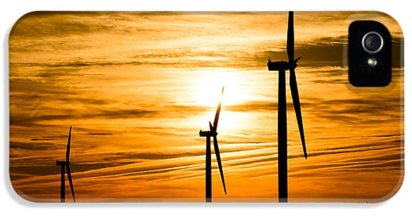 Wind Turbine Farm Picture Indiana Sunrise IPhone 5 Case by Paul Velgos