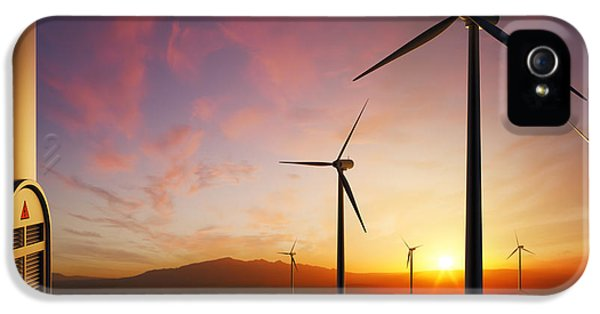Rural Scenes iPhone 5 Case - Wind Turbines At Sunset by Johan Swanepoel