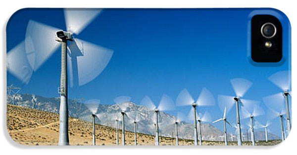 Wind Turbines Spinning In A Field, Palm IPhone 5 Case by Panoramic Images