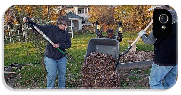 Winter Mulching In A Community Garden IPhone 5 Case by Jim West
