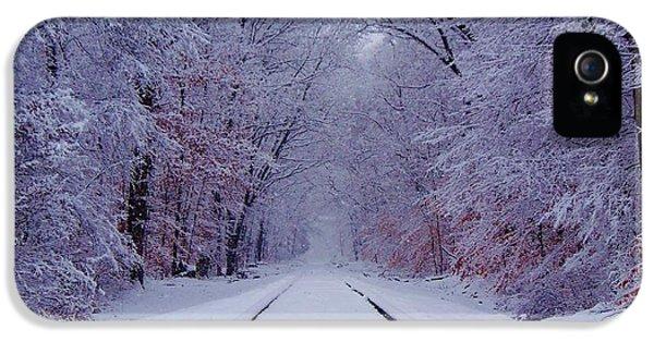 Train iPhone 5 Case - Winter Rails by Greg Kear