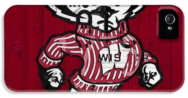 Wisconsin Badgers College Sports Team Retro Vintage Recycled License Plate Art IPhone 5 Case by Design Turnpike