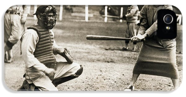 Woman Tennis Star At Bat IPhone 5 Case by Underwood Archives