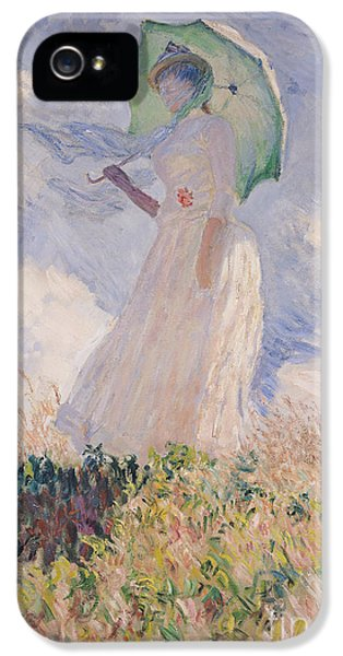 Woman With Parasol Turned To The Left IPhone 5 Case by Claude Monet
