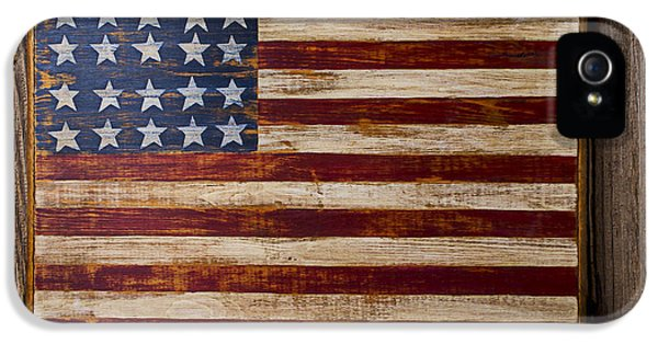 Wooden American Flag On Wood Wall IPhone 5 Case by Garry Gay