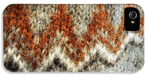 Detail iPhone 5 Case - Woolen Jersey Detail Grey And Orange by Matthias Hauser