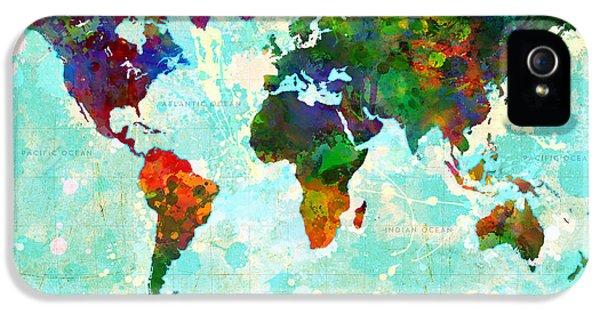 World Map Splatter Design IPhone 5 Case