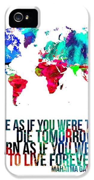 World Map With A Quote IPhone 5 Case