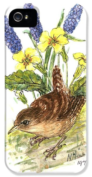 Wren In Primroses  IPhone 5 Case by Nell Hill