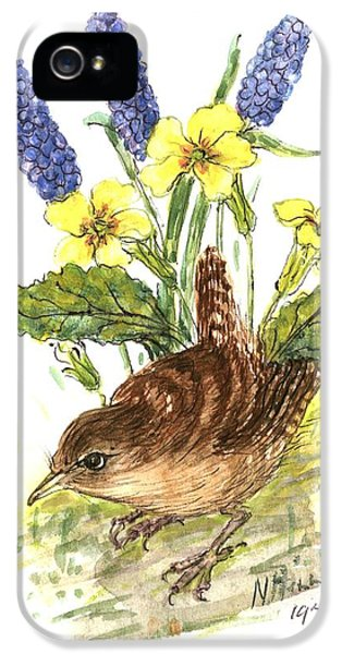 Wren In Primroses  IPhone 5 / 5s Case by Nell Hill