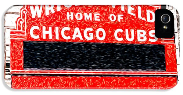 Wrigley Field Chicago Cubs Sign Digital Painting IPhone 5 / 5s Case by Paul Velgos