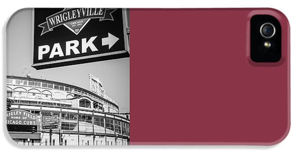 Wrigleyville Sign And Wrigley Field In Black And White IPhone 5 / 5s Case by Paul Velgos