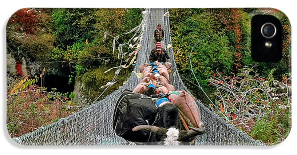 Yaks On Rope Bridge IPhone 5 Case by Babak Tafreshi