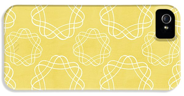 Yellow And White Geometric Floral  IPhone 5 Case by Linda Woods