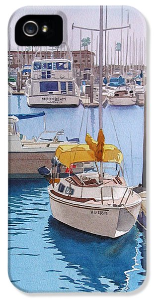 Boat iPhone 5 Case - Yellow Sailboat Oceanside by Mary Helmreich