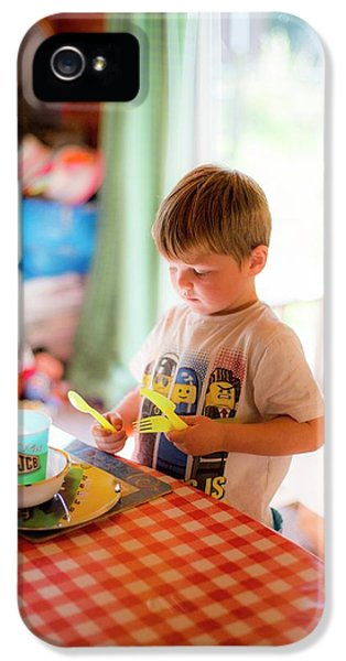 Young Boy Setting The Table At Home IPhone 5 Case