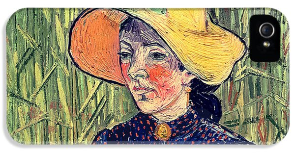 Young Peasant Girl In A Straw Hat Sitting In Front Of A Wheatfield IPhone 5 Case