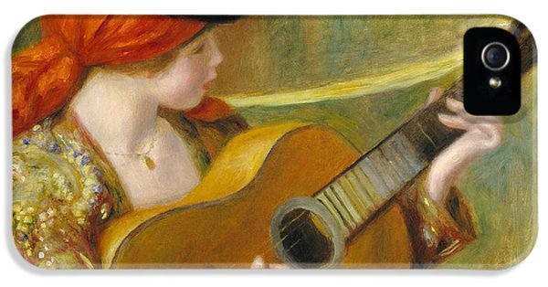 Guitar iPhone 5 Case - Young Spanish Woman With A Guitar by Pierre Auguste Renoir