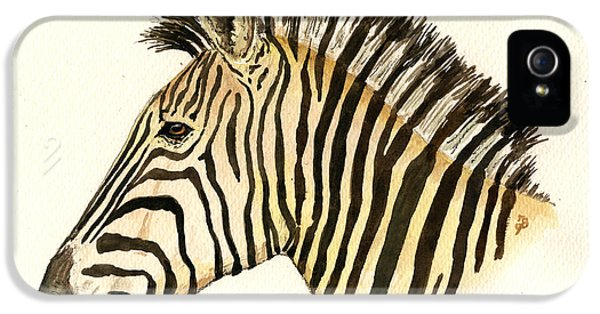 Zebra Head Study IPhone 5 Case by Juan  Bosco