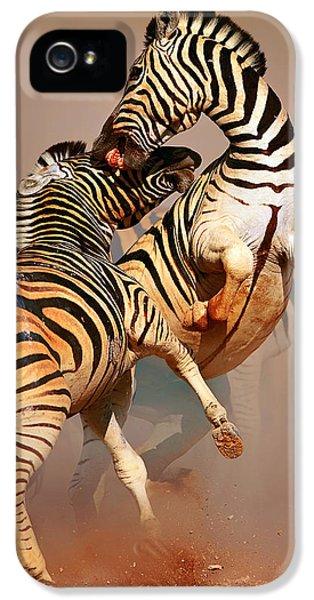Zebras Fighting IPhone 5 Case by Johan Swanepoel