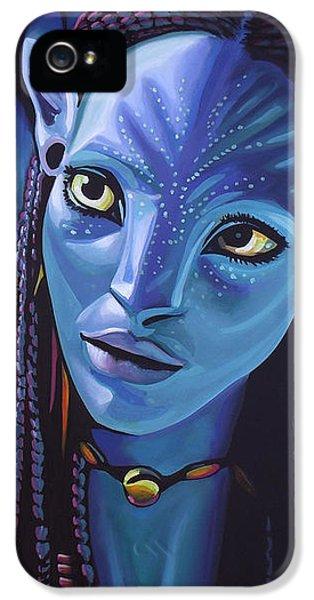 Zoe Saldana As Neytiri In Avatar IPhone 5 Case by Paul Meijering