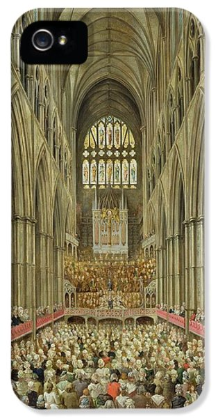 An Interior View Of Westminster Abbey On The Commemoration Of Handel's Centenary IPhone 5 Case by Edward Edwards
