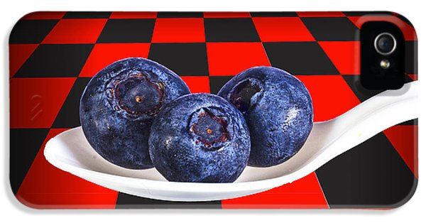 Blueberries On White Spoon Against Checker Board Background IPhone 5 Case by Randall Nyhof