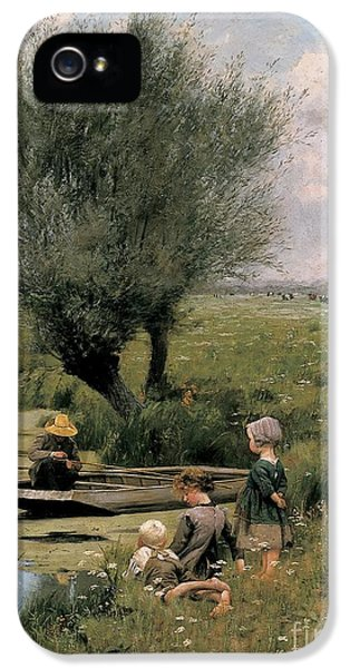 Gil iPhone 5 Case - By The Riverside by Emile Claus