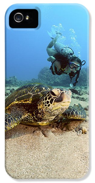 Breathe iPhone 5 Case - Diver And Green Sea Turtle IIi by Dave Fleetham - Printscapes