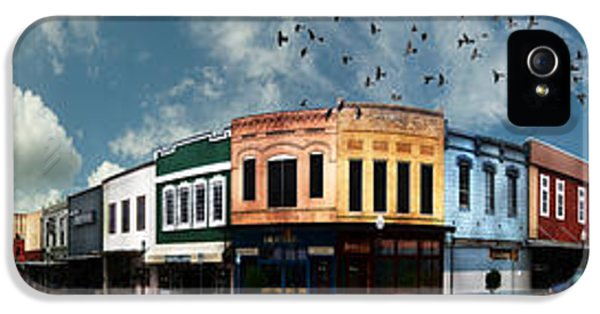 Downtown Bryan Texas Panorama 5 To 1 IPhone 5 Case by Nikki Marie Smith