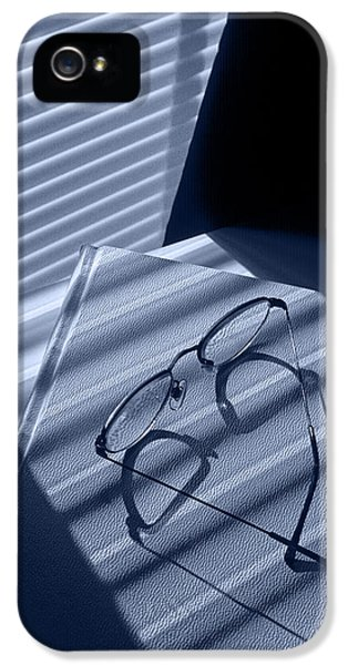 Eye Glasses Book And Venetian Blind In Blue IPhone 5 Case by Randall Nyhof