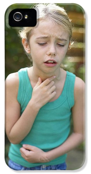 Breathe iPhone 5 Case - Girl Coughing by Ian Boddy
