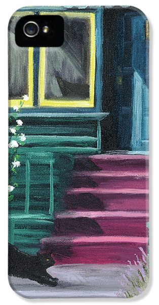 House With A Blue Door  IPhone 5 Case by Laura Iverson