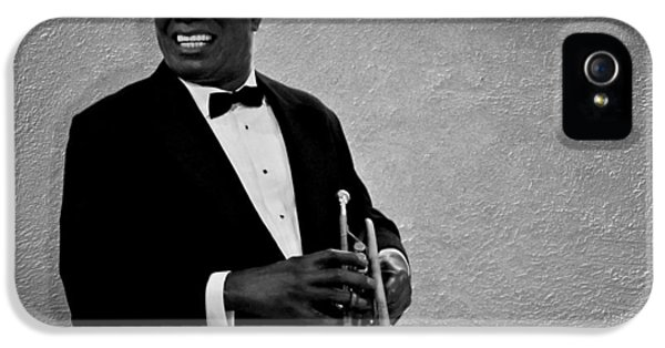 Trumpet iPhone 5 Case - Louis Armstrong Bw by David Dehner