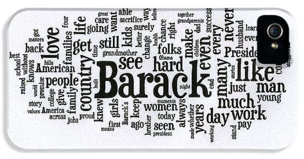 Michelle Obama Wordcloud At D N C IPhone 5 Case by David Bearden