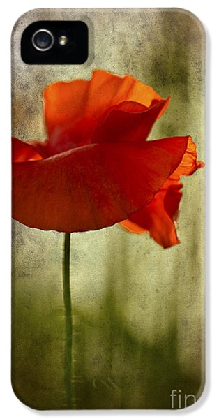 IPhone 5 Case featuring the photograph Moody Poppy. by Clare Bambers - Bambers Images