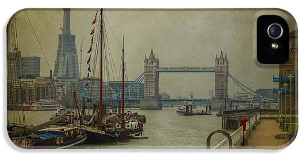 IPhone 5 Case featuring the photograph Moored Thames Barges. by Clare Bambers