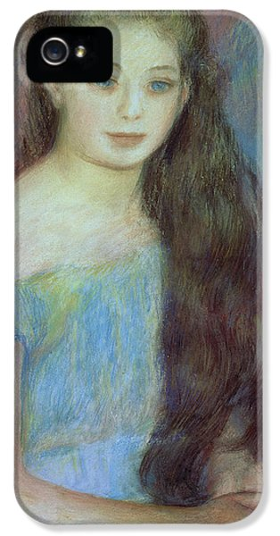 Portrait Of A Young Girl With Blue Eyes IPhone 5 Case by Pierre Auguste Renoir
