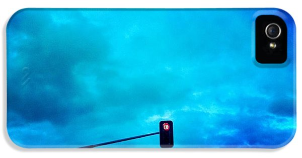 Light iPhone 5 Case - Red Traffic Light And Cloudy Blue Sky by Matthias Hauser